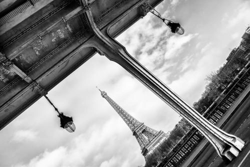 France Paris Pont Bir de Hakeim and Eiffel Tower