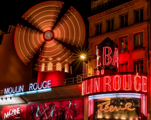 France Paris Moulin Rouge at Night