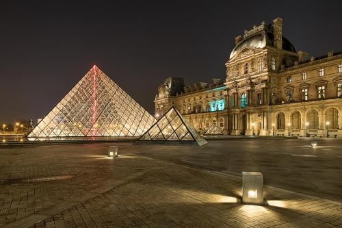 France Paris Louvre at Night