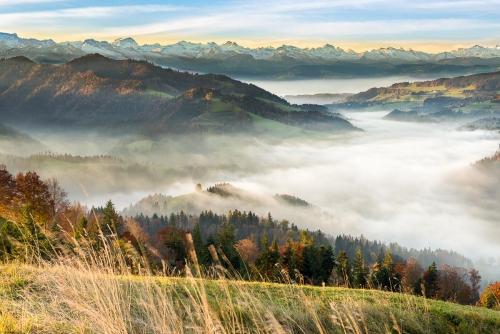 Switzerland Hörnli Sea of Fog at Sunrise over the Alps