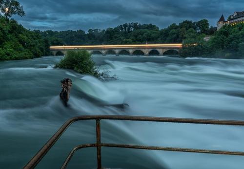 Switzerland Rhine Falls at Dusk