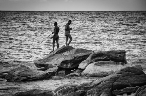 Malawi Nkhata Bay Two Young Man Fishing